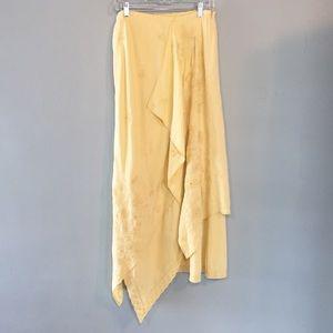 J. Jill linen soft yellow asymmetrical maxi  skirt